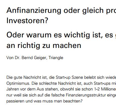 Anfinanzierung oder professionelle Investoren